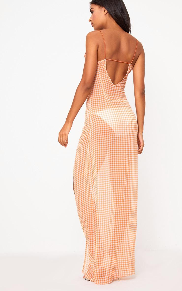 Orange Strappy Gingham Chiffon Maxi Dress  2