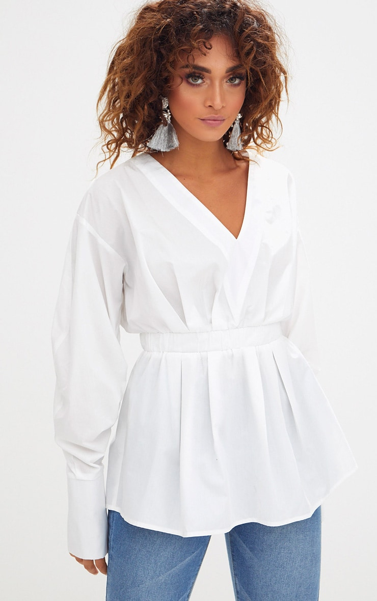 White Ruched Sleeve Gathered Waist Shirt  1