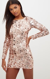 f8ae5c322f0c Rose Gold Sequin Front Long Sleeve Back Tie Detail Bodycon Dress image 2