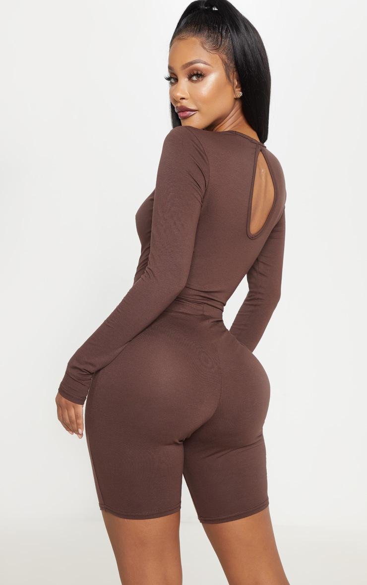 Shape Chocolate Brown Jersey Long Sleeve Unitard  2
