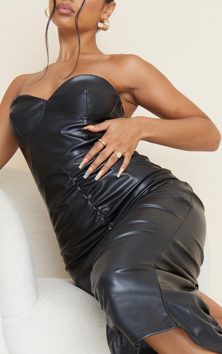 Black Pu Bandeau Ruched Front Midi Dress 4