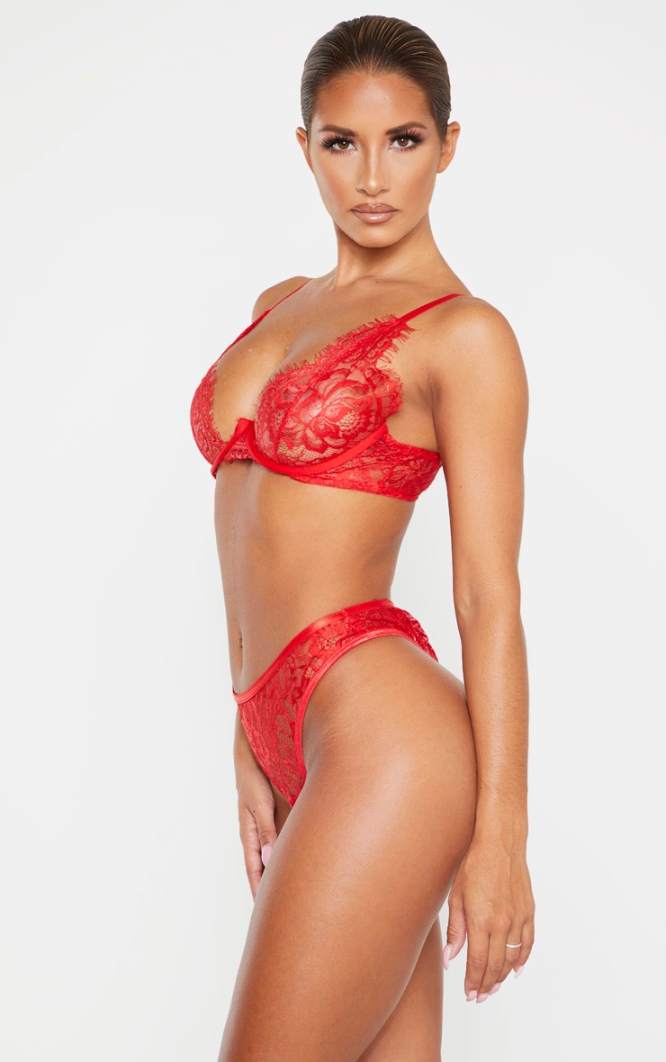 Red Floral Lace Thong 2