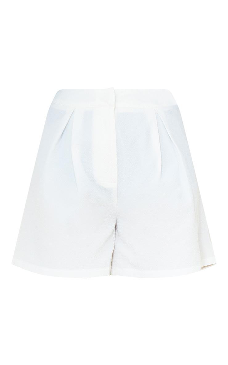 White Textured City Shorts 6