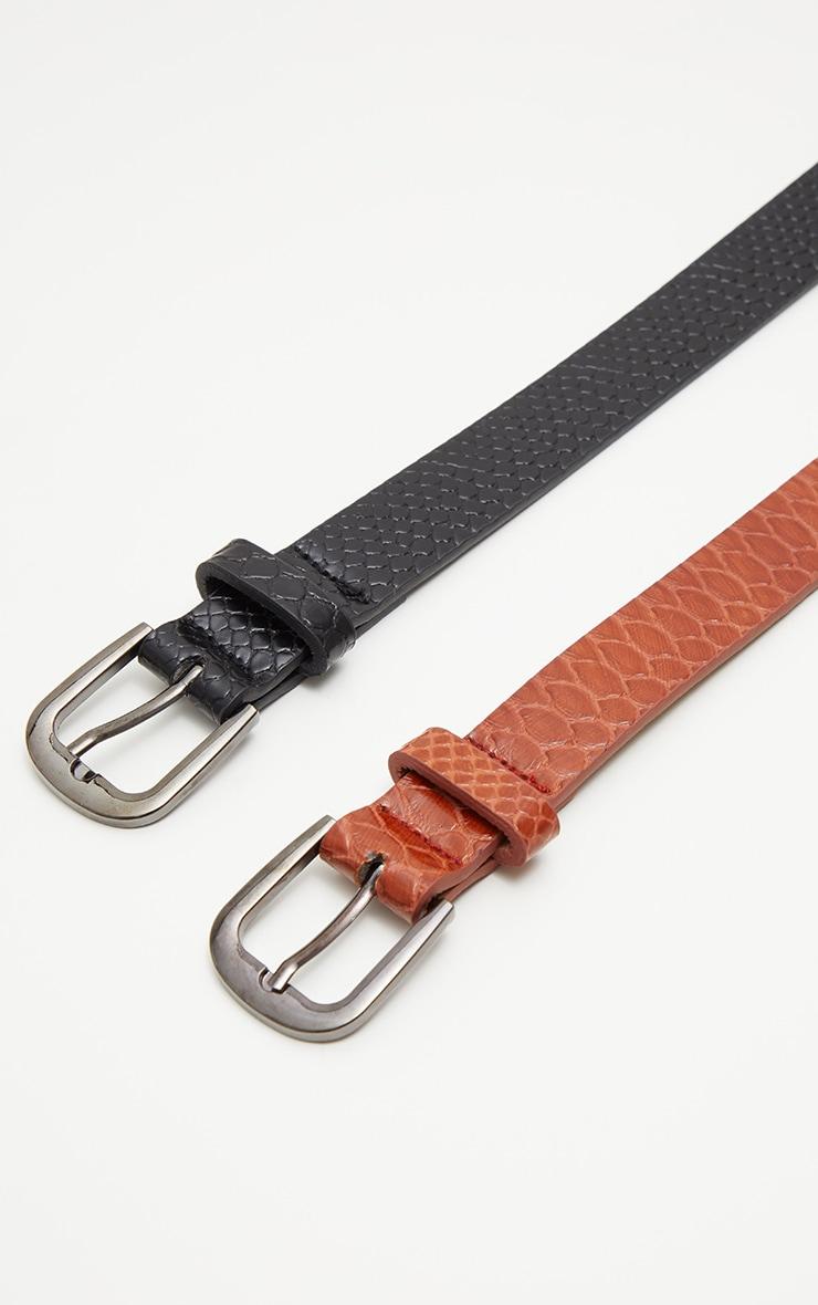 Lot de 2 ceintures imitation croco - Noir & Marron