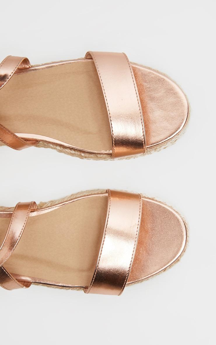 Rose Gold Lace Up Espadrille Flatform Sandal 4