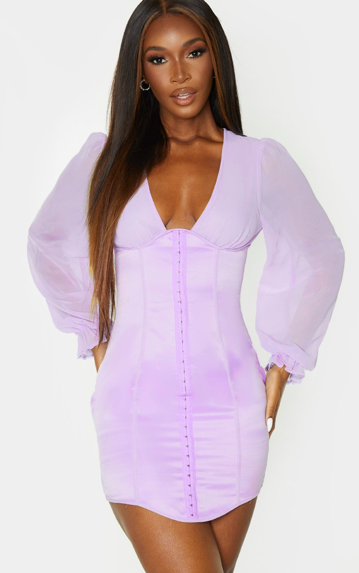 Lilac Satin Hook & Eye Chiffon Sleeve Bodycon Dress 1