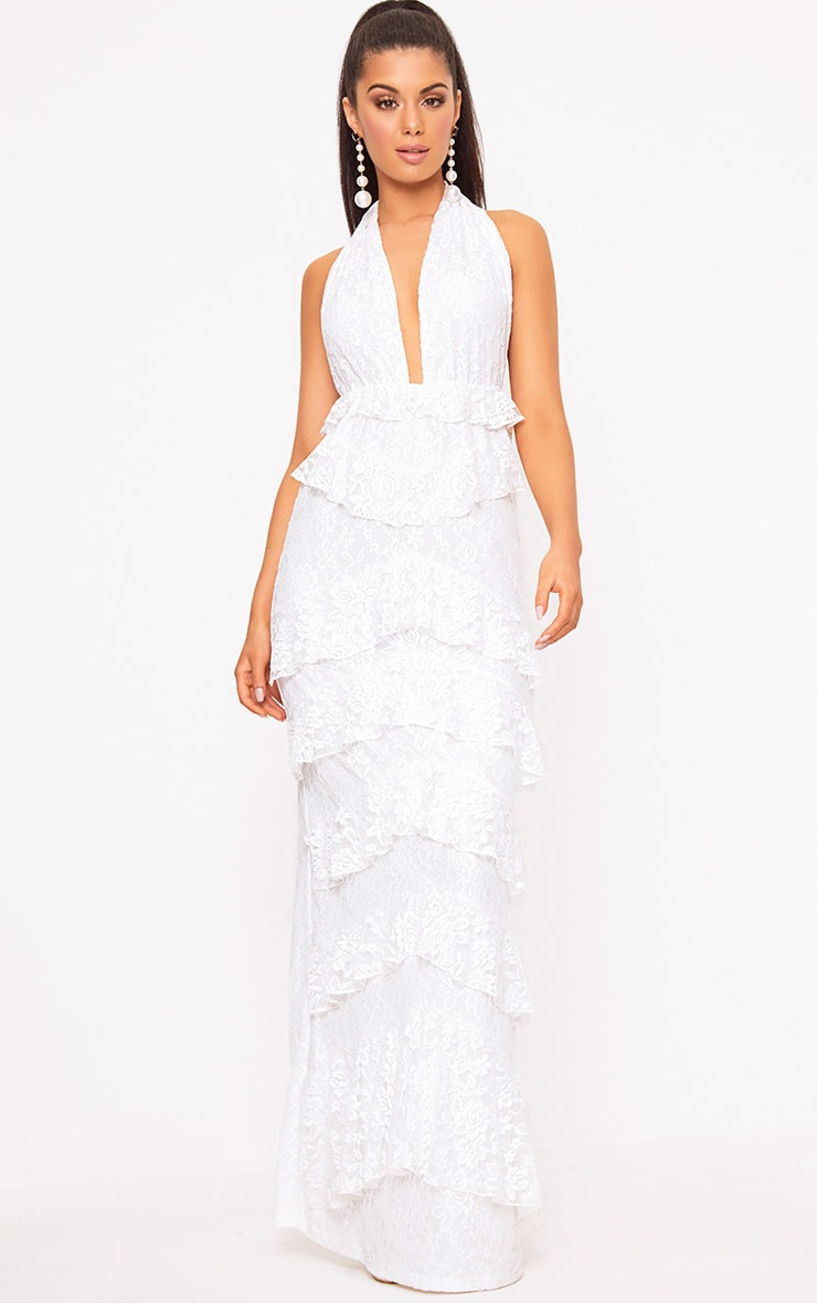 White Lace Frill Detail Maxi Dress 1