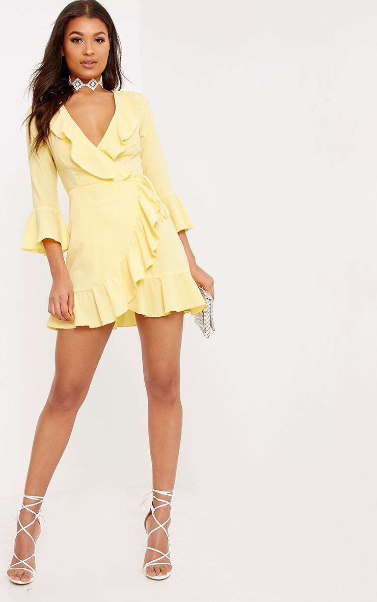 Ilisha Lemon Frill Wrap Dress  4