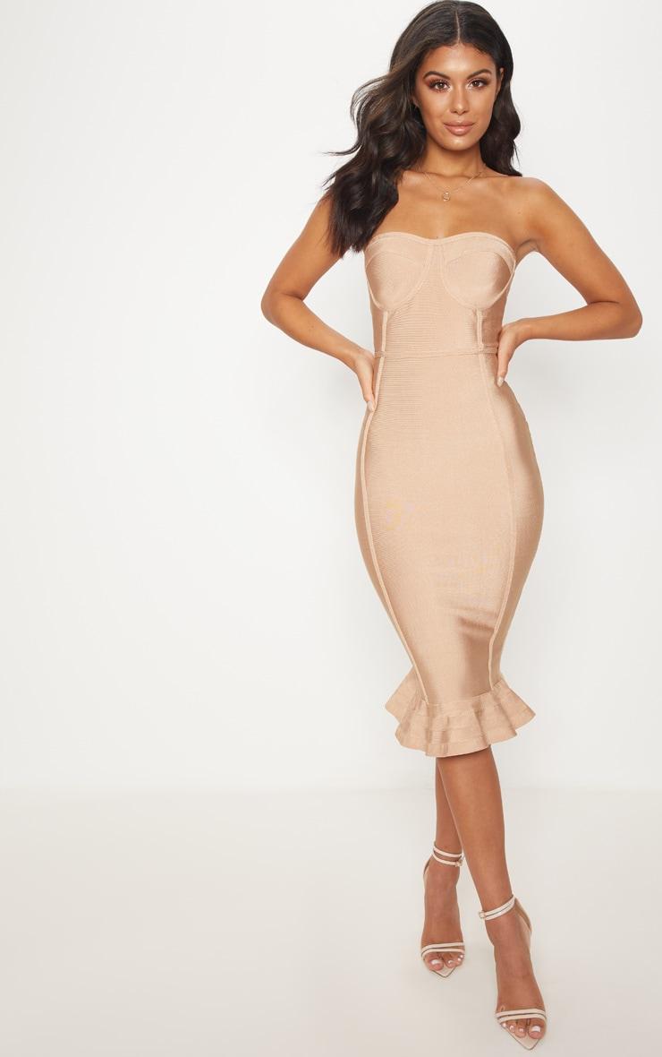 Camel Frill Hem Bandage Midi Dress 1