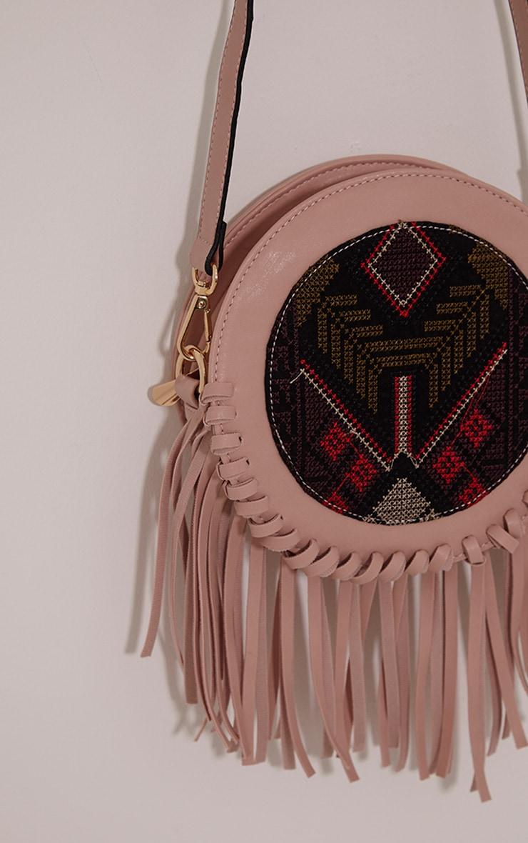 Blair Pink PU Tapestry Fringe Bag 5