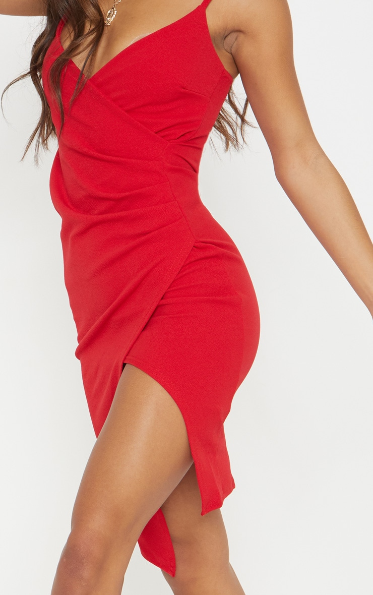 Lauriell Red Wrap Front Crepe Midi Dress 5