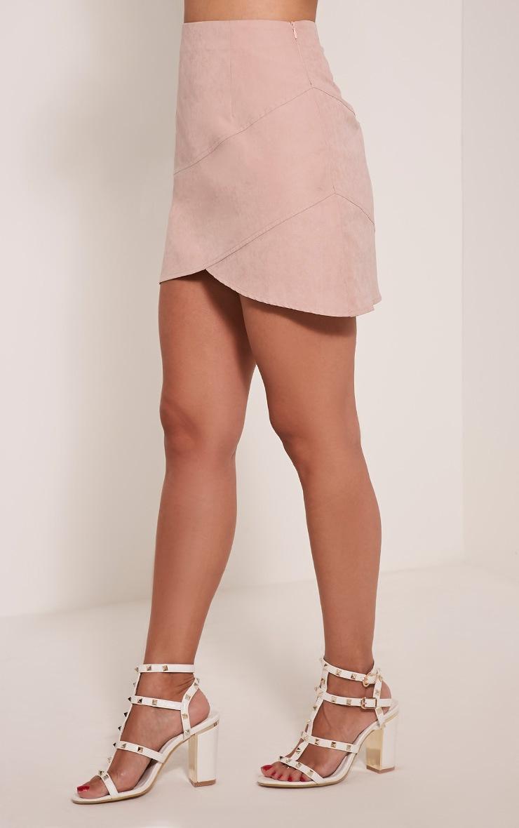 Bexley Blush Wrap Hem Faux Suede Mini Skirt 5