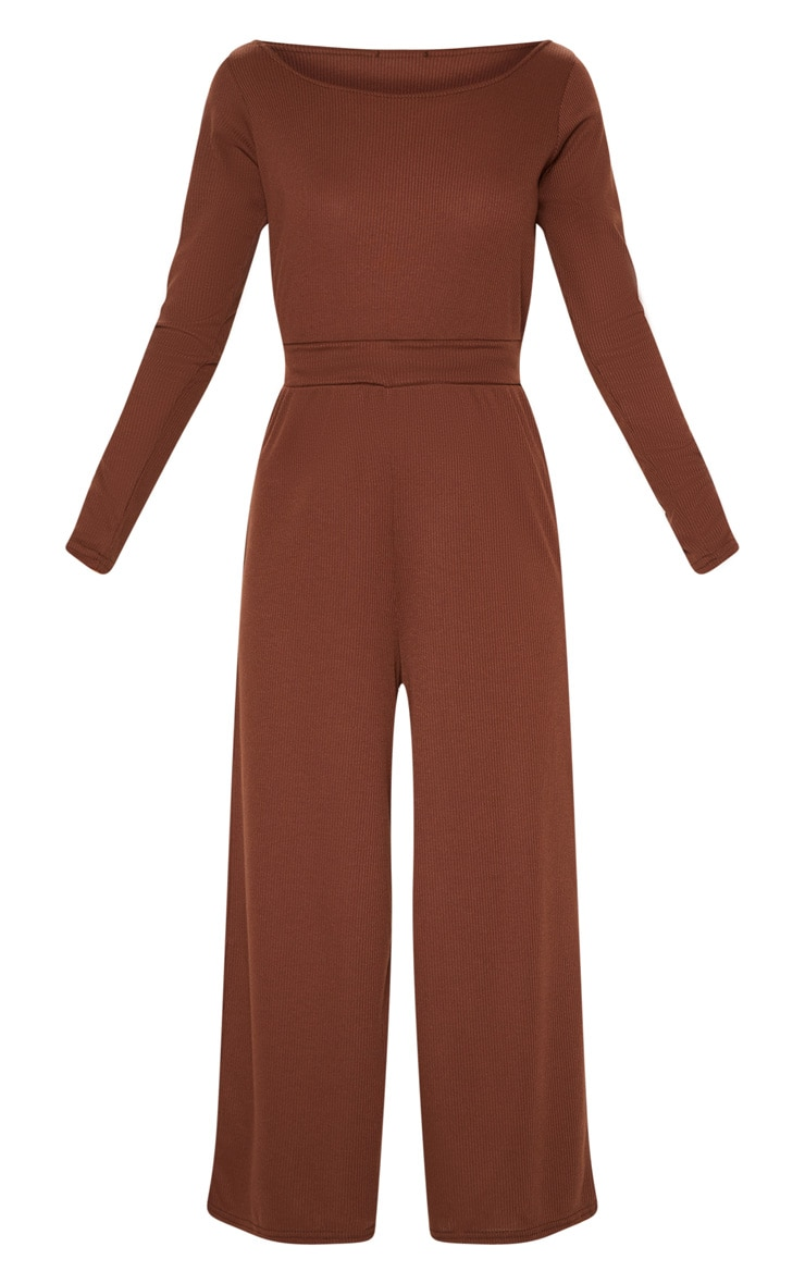 Chocolate Rib Off Shoulder Culotte Jumpsuit 3