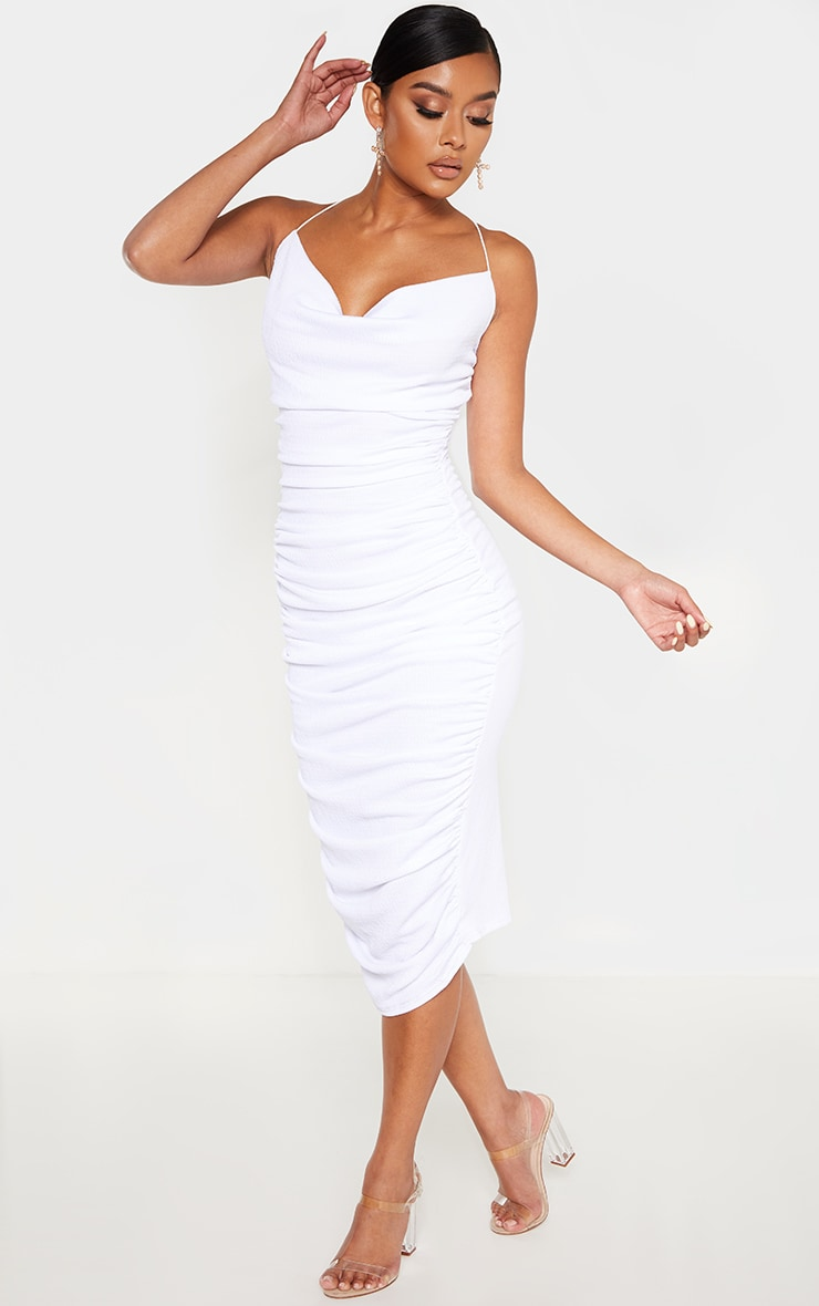 White Crinkle Texture Ruched Cowl Neck Midi Dress 4
