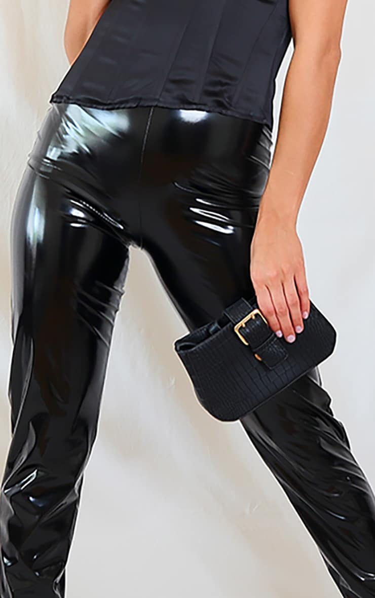 Black Faux Leather Dip Waist Skinny Trousers 4
