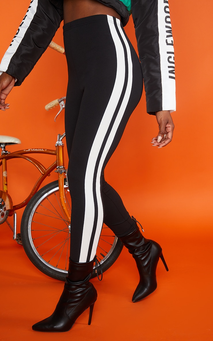 Black High Waisted Track Leggings 2