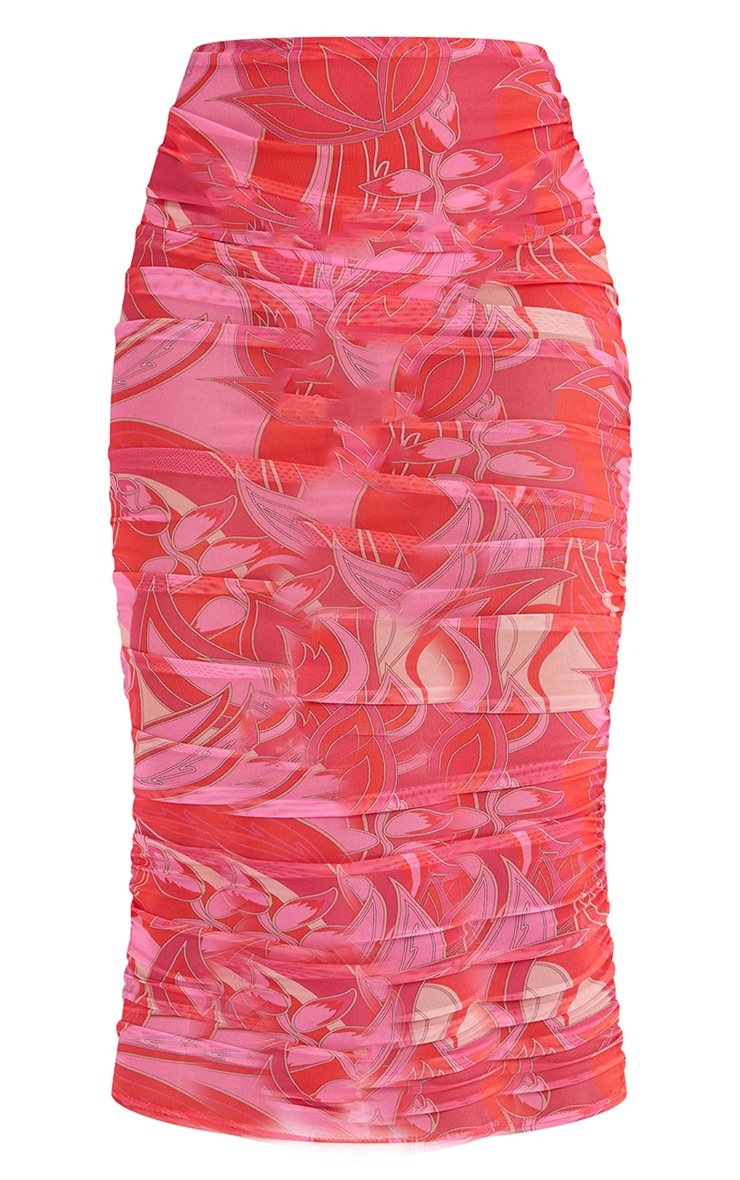Tall Pink Floral Print Mesh Ruched Midaxi Skirt 5
