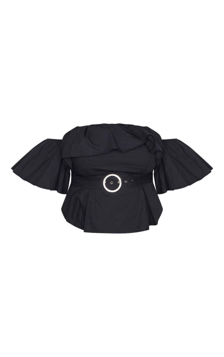 Plus Black Frilled Detail Belted Crop Top 3