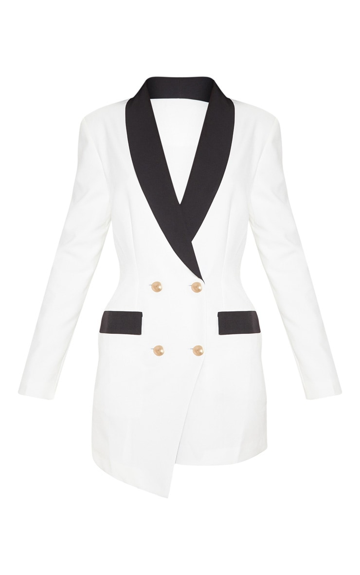 White Gold Button Contrast Blazer Dress 3
