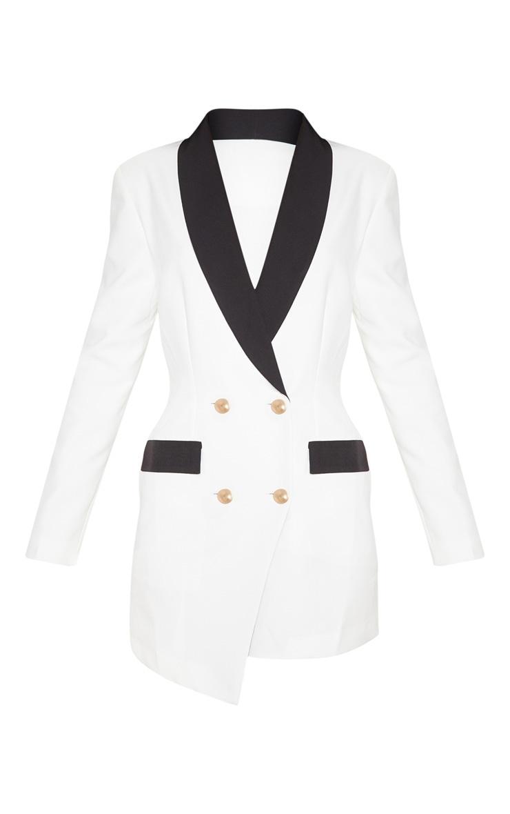 Robe blazer blanche à boutons dorés et col contraste 3
