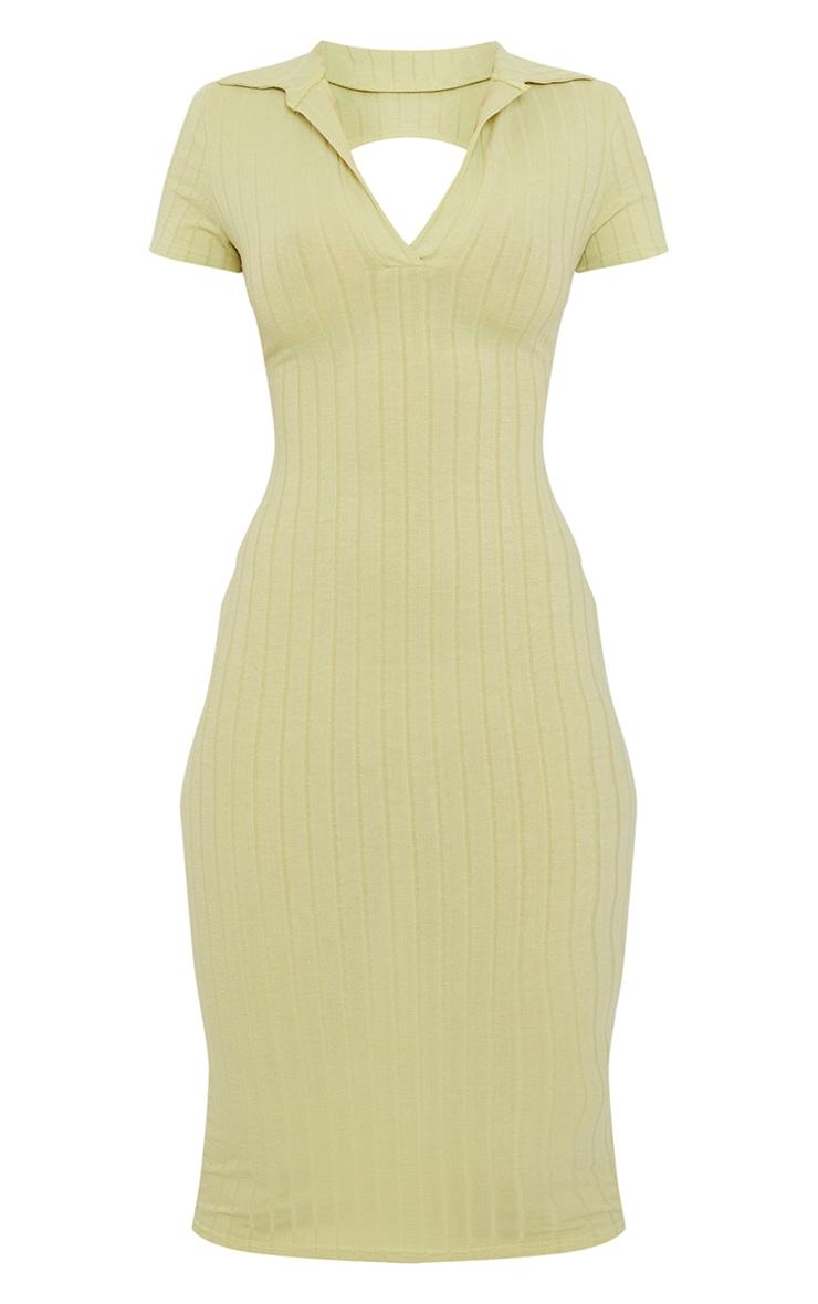 Sage Green Rib Open Back Polo Collar Detail Midi Dress 5