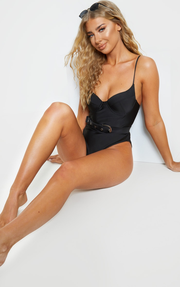 Black Belted Cupped Swimsuit 4