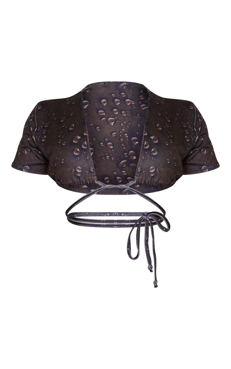 Brown Drip Print Tie Front T Shirt Bikini Top 6