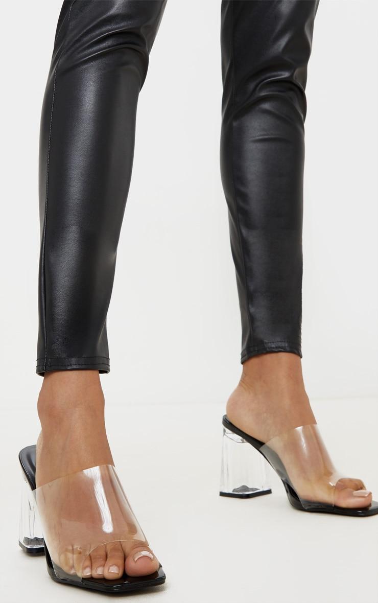 Black Clear Block Heel Mule 2