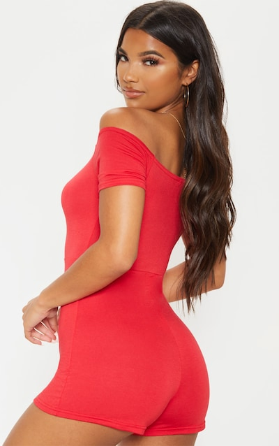 Red Bardot Ruched Front Playsuit