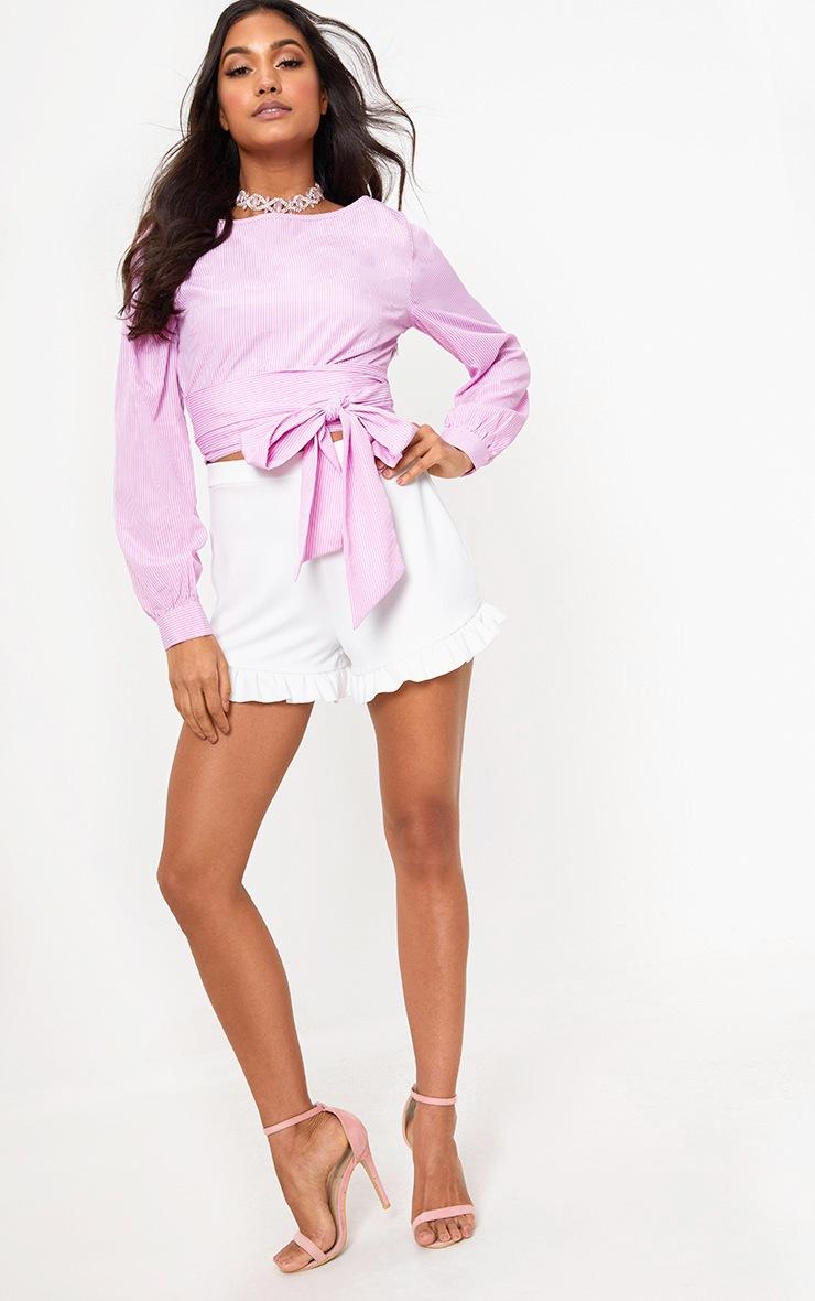 Pink Stripe Open Tie Around Crop Shirt  4