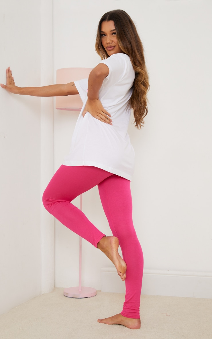 Pink Tis' The Season To Stay In T-Shirt And Legging PJ Set 2