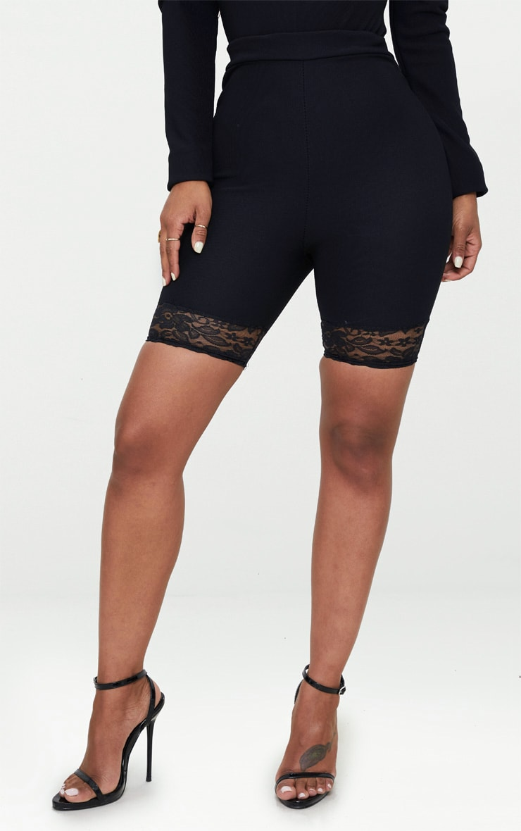 Shape Black Ribbed Lace Trim Cycling Shorts 2