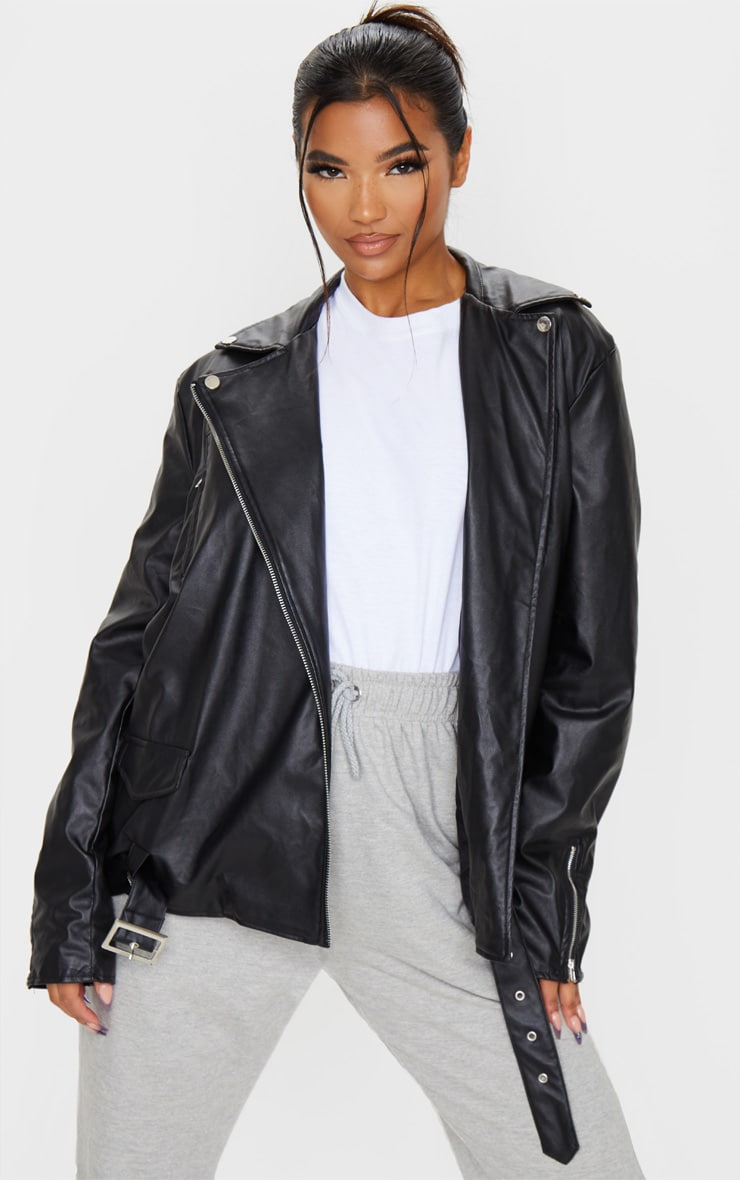Black Faux Leather Oversized Biker Jacket 2