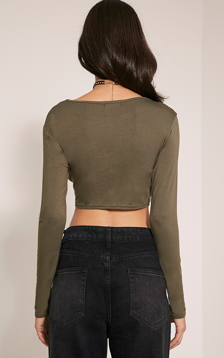 Basic Khaki Long Sleeved Crop Top 2