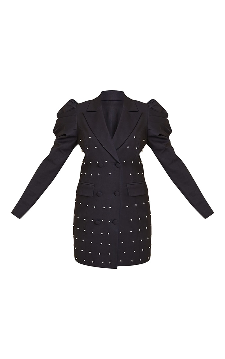 Black Pearl Detail Puff Sleeve Blazer Dress 5