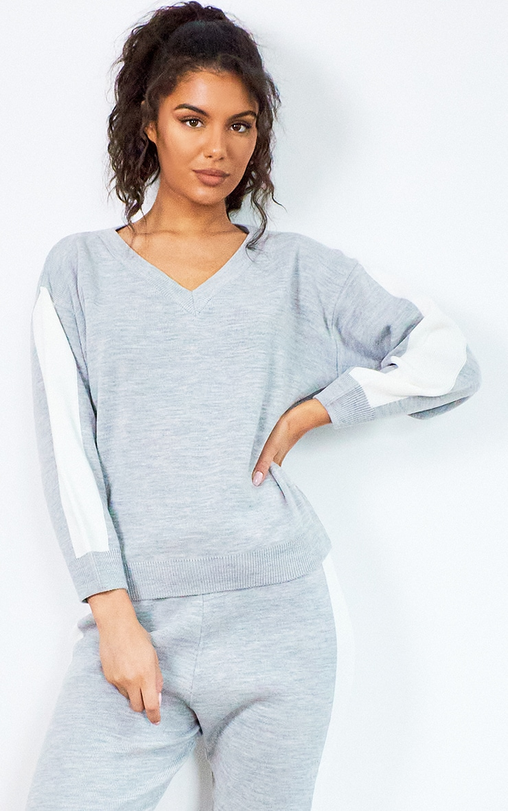 Grey Contrast Stripe Knitted Lounge Set 3