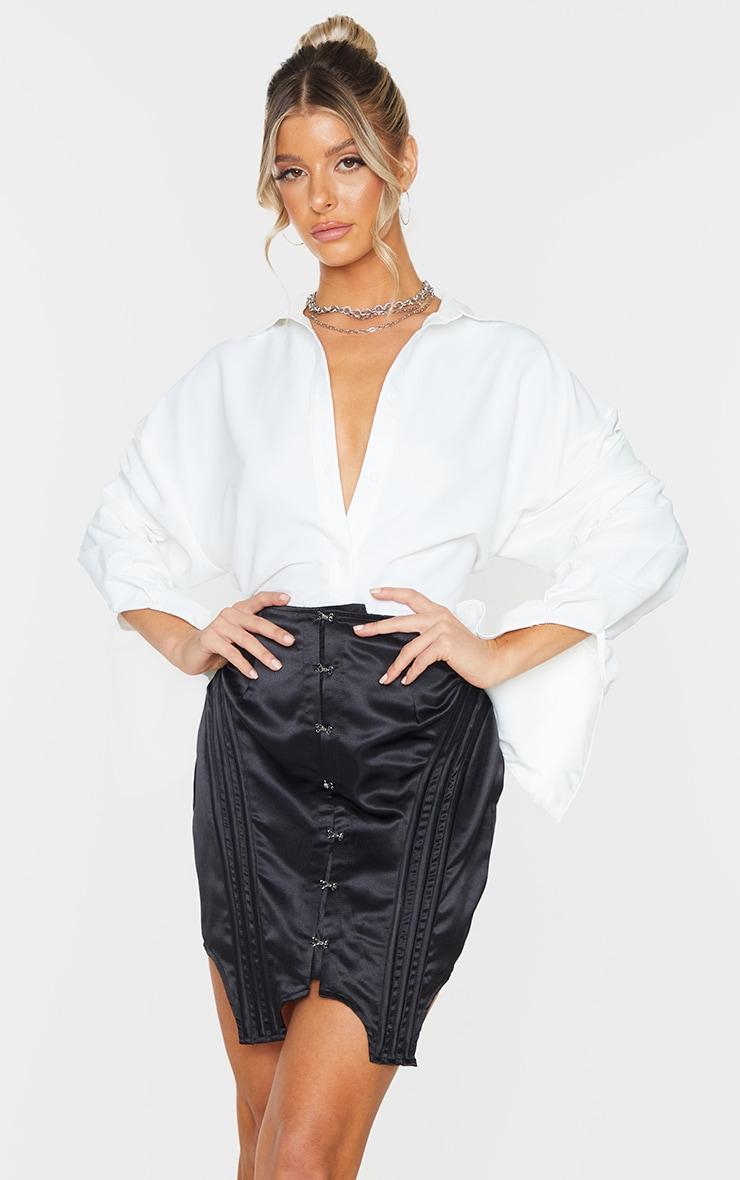 Black Satin Hook and Eye Panelled Detail Mini Skirt 4