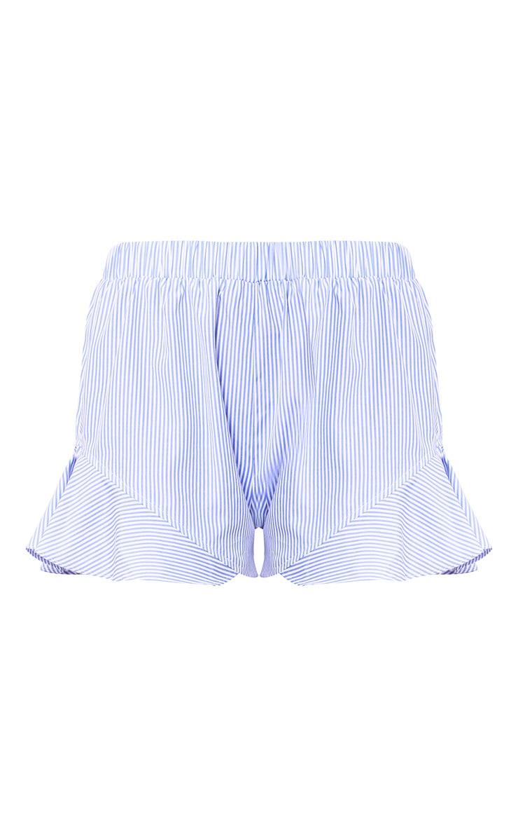 Charise Blue Pinstripe Frill Hem Shorts 2