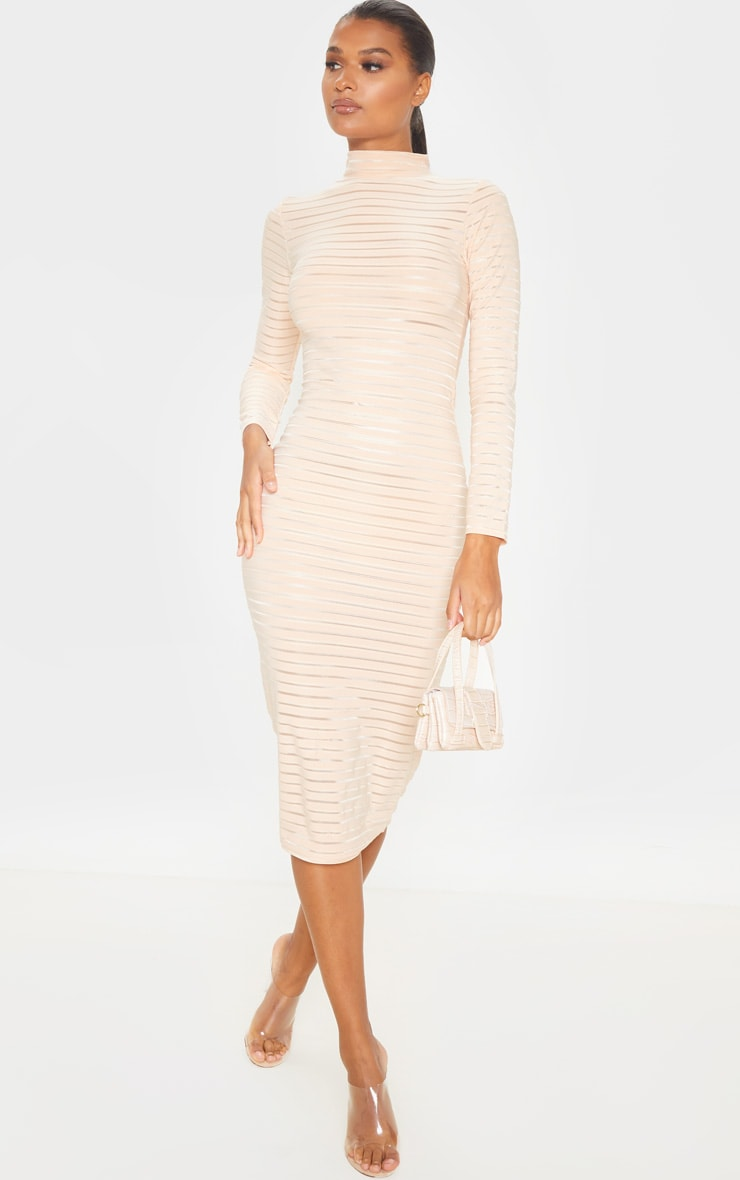 Nude Sheer Stripe Long Sleeve High Neck Midi Dress 1