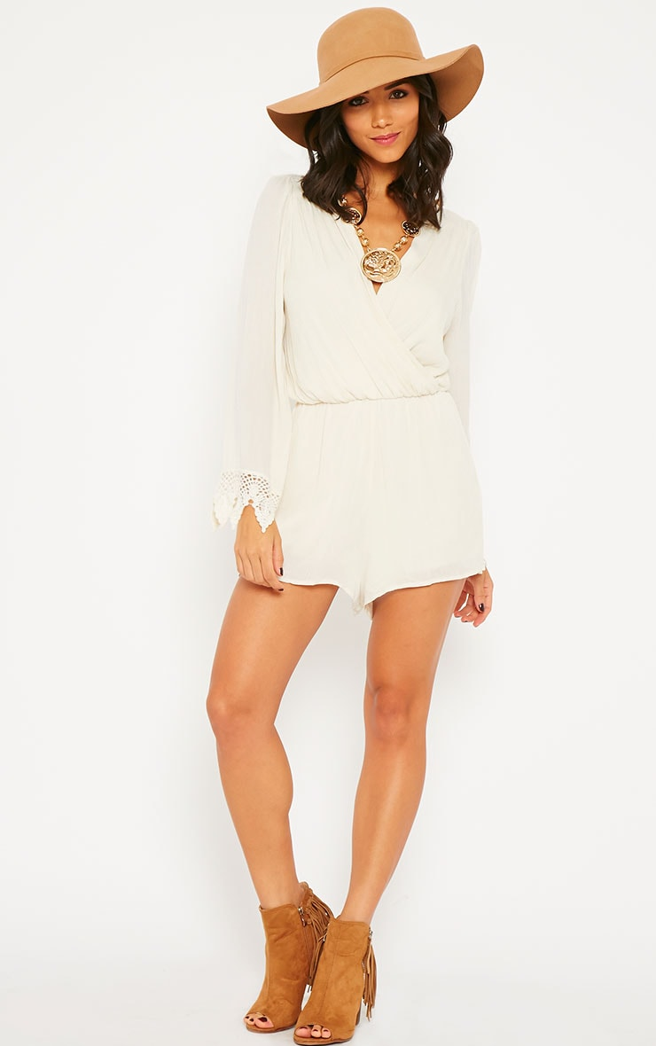 Marketta Cream Wrap Front Embroidered Cuff Playsuit 3