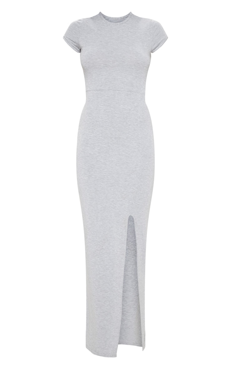 Grey Jersey Short Sleeve Split Maxi Dress 3