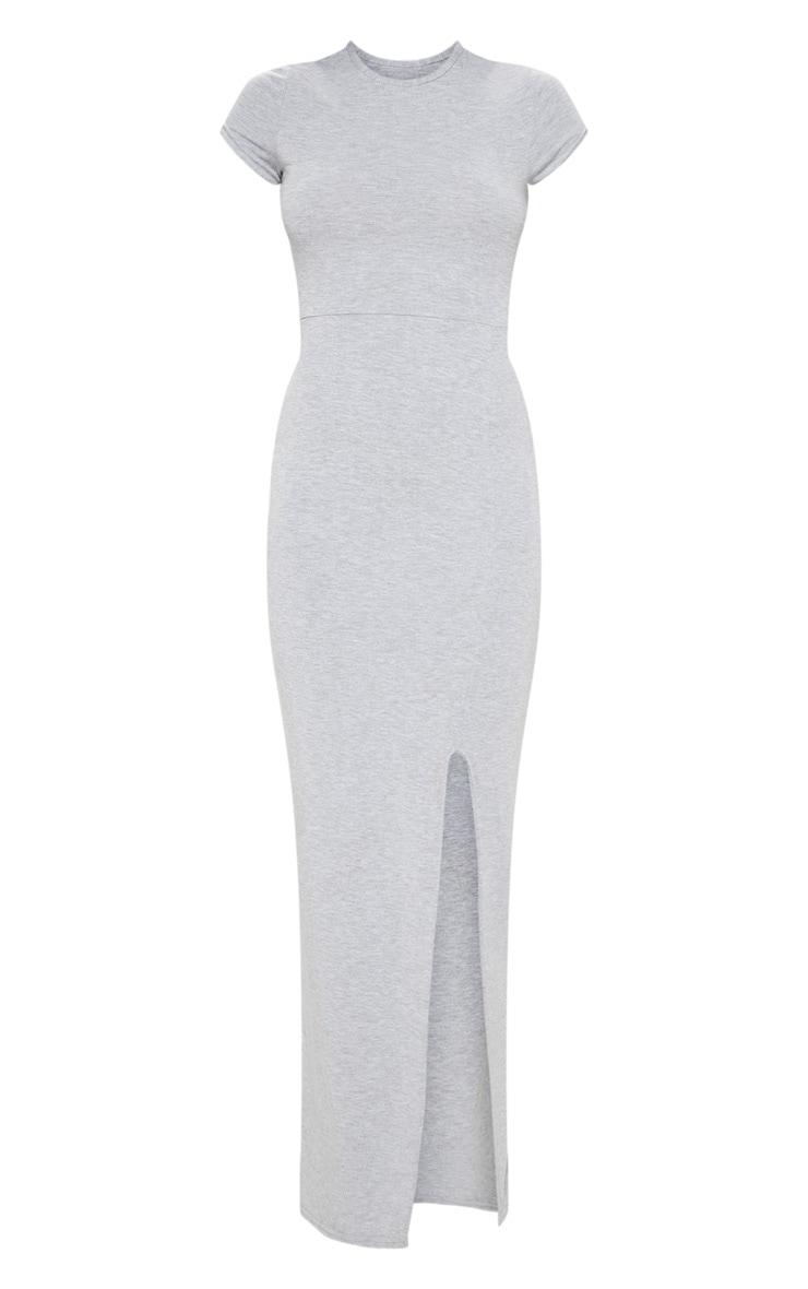 فستان ماكسي رمادي مقسوم من قماش الجيرسي بأكمام قصيرة 3
