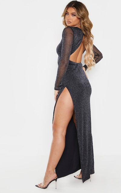 Black Glitter Backless Long Sleeve Maxi Dress