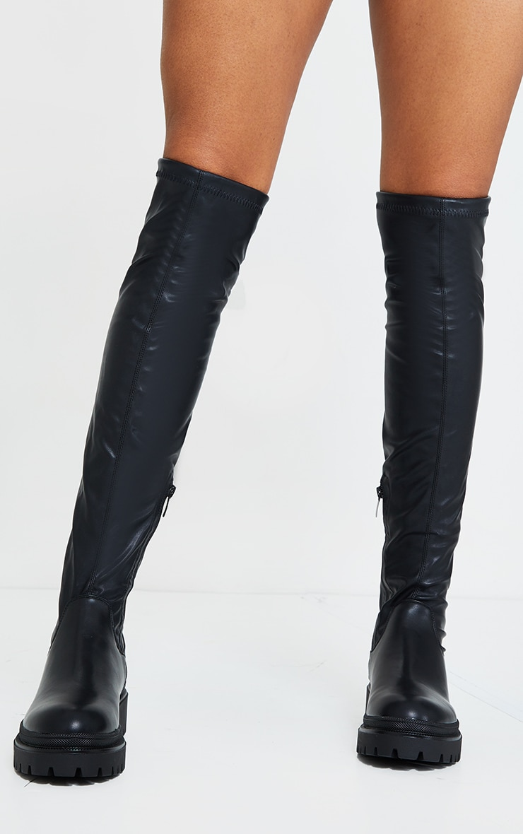 Black PU Over The Knee Chunky Boots 2