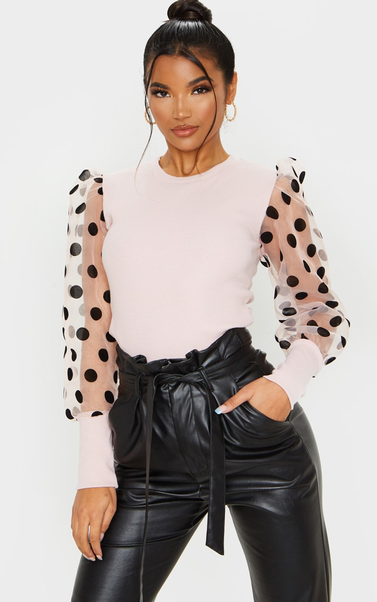 Nude Polka Dot Organza Sleeve Top 1