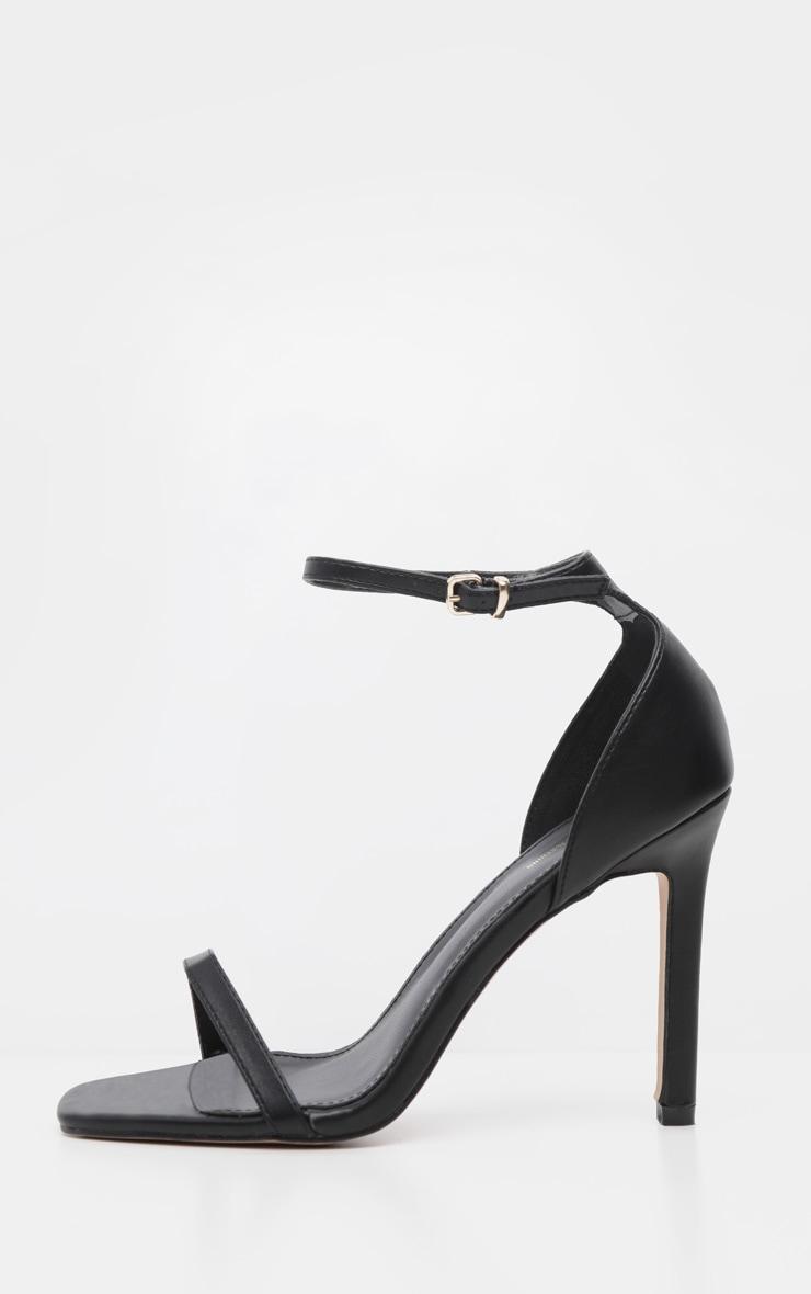 Black PU Thin Strap Square Toe Strappy Sandal 3
