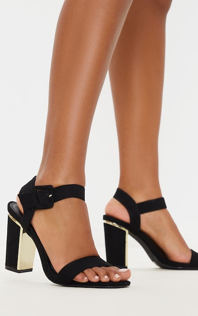 Black Wide Fit Metal Heel Detail Block Heel Sandal