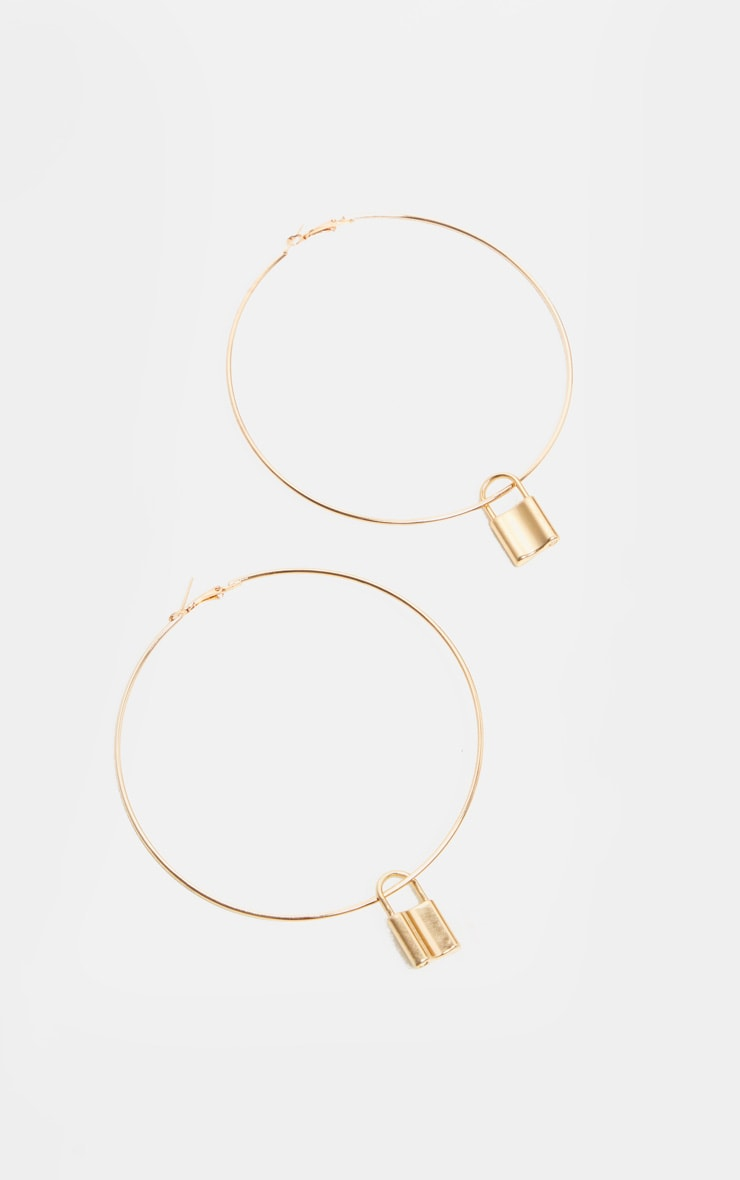 Gold Padlock Charm Extra Large Hoop Earrings 2
