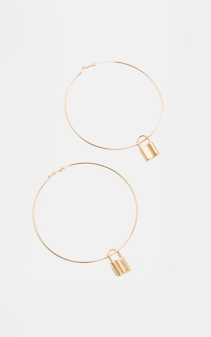 Gold Padlock Charm Extra Large Hoop Earrings 2