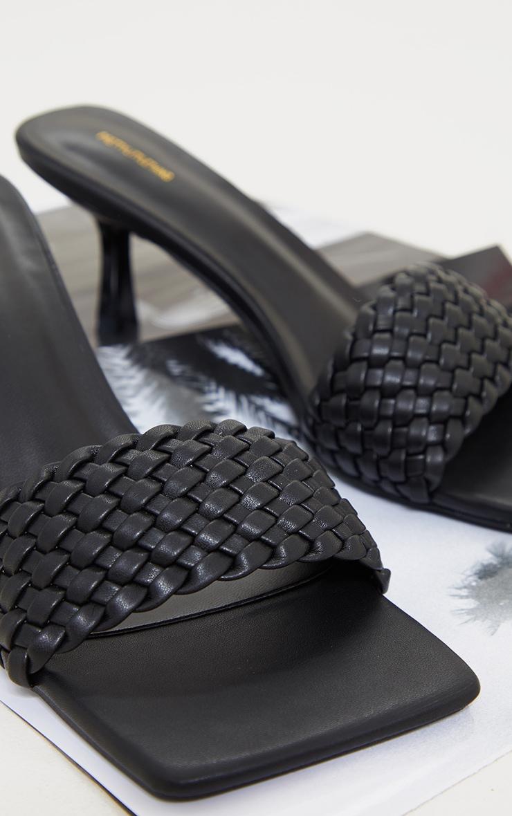 Black Woven Strap Square Toe Low Heel Mules 4